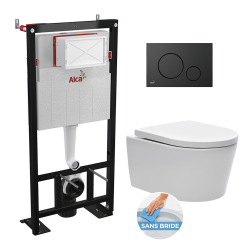 bati support autoportant + WC suspendu sans bride et fixations invisibles + plaque noire mate (AlcaSATrimless-2)