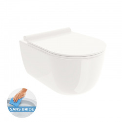 COMBI PACK WC SUSPENDU RIO CUVETTE RIMLESS + ABATTANT SOFTCLOSE, Blanc (RIORIMLESS)