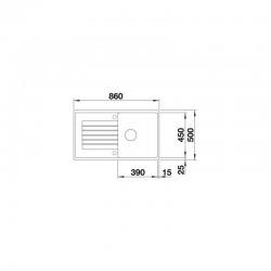 ZIA 5 S - évier composite de granit de SILGRANIT PuraDur bac avec égouttoir,couleur blanc (520515)