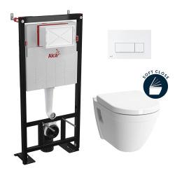 Set complet bati support autoportant + WC suspendu Vitra S50 + plaque double touche blanche (AlcaS50softclose-4)