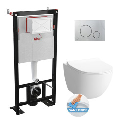 Set complet bati support autoportant + WC suspendu Vitra Sento sans bride + plaque chrome mat (AlcaSento-5)