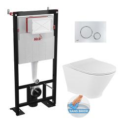 Set complet bati support autoportant + WC suspendu Roca Gap Round sans bride + plaque chrome brillant (AlcaGapRimless-6)
