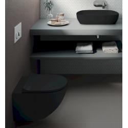 Set complet bati support autoportant + WC suspendu Vitra Sento noir mat sans bride + plaque noire mate (AlcaBlackSento-7)