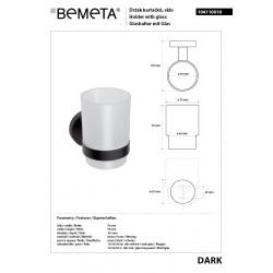 Porte-verre DARK en laiton noir et en verre 7x9,5x10,5cm (104110010)