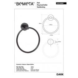 Porte serviette anneau DARK en laiton noir 17x 19,5x 5,5cm / ø 15cm (104104060)