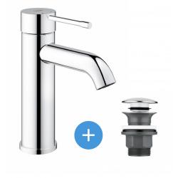 Grohe Essence Nouveau - mitigeur de lavabo chrome + Bonde clic clac Grohe pour lavabo avec trop-plein