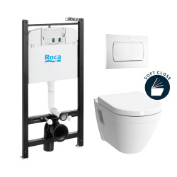 Pack Bâti-support Roca Active + WC suspendu Vitra + Abattant soft close + plaque blanche (RocaActiveS50softclose-1)