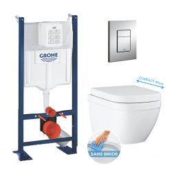 Pack WC Rapid SL autoportant + Euro Ceramic Cuvette WC suspendue compact Triple Vortex, blanc alpin (ProjectEuroCompact-1)