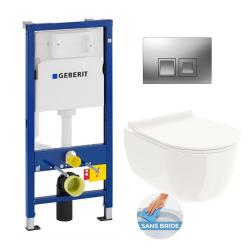 Pack bâti support DuofixBasic + WC suspendu RIO sans bride + plaque Geberit DELTA50 chrome (RioRimlessGeb2)