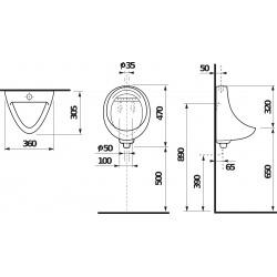 Korint Urinoir suspendu en céramique avec alimentation externe + siphon inclus (H8441000004401)