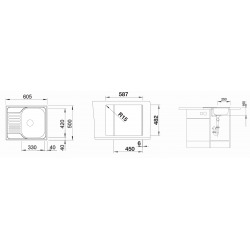 TIPO 45 S Mini Evier en inox 1 cuve + égouttoir avec vidage manuel (516524)