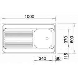 Blanco Evier R-ES en Acier inoxydable 100x60cm réversible, pose cadre bois (510503)