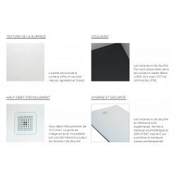 Pro Receveur de douche en gel coat Marbond, extra-plat, carré, évacuation sur le côté du receveur 100x100, gris clair mat