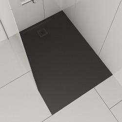 Receveur de douche en gel coat Marbond,extra-plat, rectangulaire,évacuation sur le côté court du receveur 100x80, anthracite mat