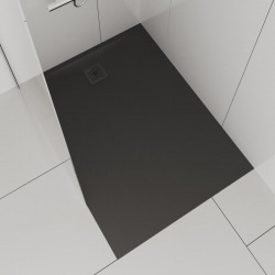 Pro Receveur de douche en gel coat Marbond, rectangulaire, évacuation sur le côté court du receveur 100x90, anthracite mat