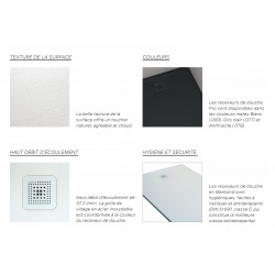 Pro Receveur de douche en gel coat Marbond, extra-plat, rectangulaire, évacuation sur le côté court du receveur 120x80, gris