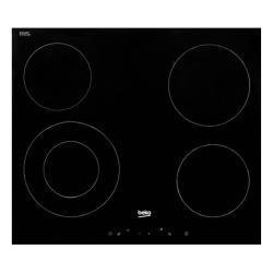 Plaque de cuisson vitrocéramique avec 4 feux + double zone, fonction d'arrêt automatique 58x81cm, Noir (HIC64401)
