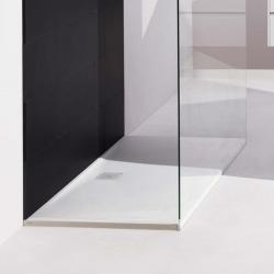 Receveur de douche en gel coat Marbond, extra-plat, évacuation sur le côté long 140x80, Blanc mat (H2109530000001)