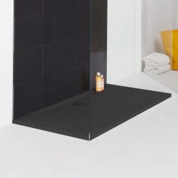 Receveur de douche en gel coat Marbond, extra-plat, évacuation sur le côté long 140x80, Anthracite mat (H2109530780001)