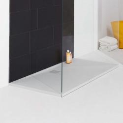 Receveur de douche en gel coat Marbond, extra-plat, évacuation sur le côté long 140x90, Blanc mat (H2109590000001)