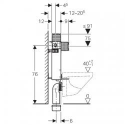 KOMBIFIX pro závěsné WC, 82 cm, s nádržkou Omega, pro ovládací tlačítka Omega