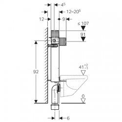 KOMBIFIX pro závěsné WC, 98 cm, s nádržkou Omega, pro ovládací tlačítka Omega