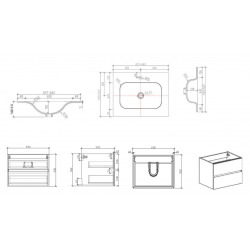 Verona Set Meuble bois foncé avec 2 tiroirs fermeture lente + Vasque blanche (Verona66BF)