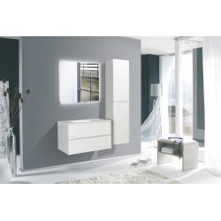 Verona Set Meuble suspendu blanc mat avec 2 tiroirs fermeture lente + Vasque marbre coulé blanche (Verona66BB)