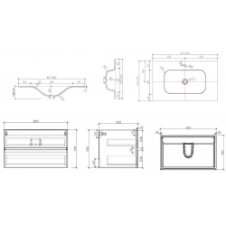 Verona Set Meuble suspendu blanc mat avec 2 tiroirs fermeture lente 86cm + Vasque marbre coulé blanc mat (Verona86BB)