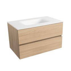 Verona Set Meuble 86cm suspendu bois clair avec 2 tiroirs fermeture lente + Vasque marbre coulé blanc mat (Verona86BC)