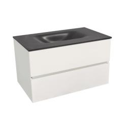 Verona Set Meuble 86cm suspendu blanc mat avec 2 tiroirs fermeture lente + Vasque marbre coulé noir mat (Verona86NB)