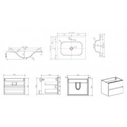 Set Meuble 66cm suspendu bois foncé avec 2 tiroirs + Vasque marbre coulé blanc mat + Armoire (Verona66BFF)