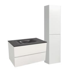 Set Meuble 66cm suspendu blanc mat avec 2 tiroirs + Vasque marbre coulé noir + Armoire (Verona66NBB)