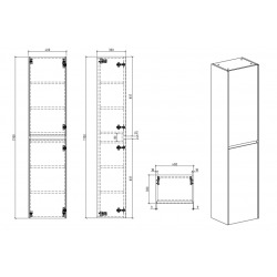 Set Meuble 86cm suspendu blanc mat avec 2 tiroirs + Vasque marbre coulé blanc mat + Armoire (Verona86BBB)