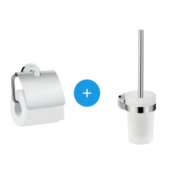 Logis Universal Pack brosse WC + Porte-papier toilette, Chrome (41722000-DUOLOGIS)