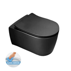 Alfa WC suspendu sans bride avec fixations invisibles + abattant ultra fin déclipsable Softclose, finition noire (AlfaBLRimless)