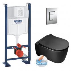 Grohe Pack WC Bâti autoportant avec Cuvette Alfa rimless fixations invisibles + Abattant + Plaque chrome (ProjectBlackAlfa-1)