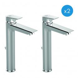Ideal Standard TESI - Lot de 2 mitigeurs de lavabo monocommande chromé (A6573AA-DUO)