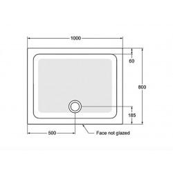 Receveur de douche rectangulaire antidérapant à poser 100 x 80 cm, Gris émaillé (R1554YT)