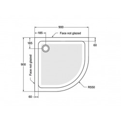 Receveur Quart de Rond antidérapant à poser 90 x 90 cm, Gris émaillé (R1553YT)