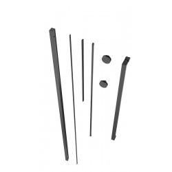 Walk-in Xmotion Set pour installation de paroi de douche avec profilé, poignée, rails et roulettes, Noir (SIKOWIXMPROFILC)