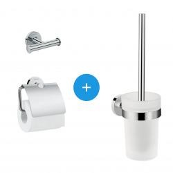 Logis Universal Pack Brosse WC + Patère salle de bains + Porte-papier toilette, Chrome (41722000-TRIOLOGIS)