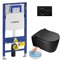 Pack WC Bâti-support avec Cuvette Alfa sans bride + Abattant Softclose + Plaque noir chromé (GebBlackAlfa-D)