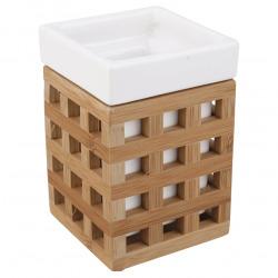 Libra Gobelet en bois de bambou au design carré, Blanc (LIB27)