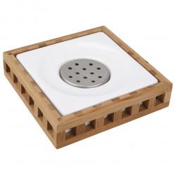 Libra Porte-savon en bois de bambou au design carré, Blanc (LIB27)