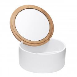 Libra Boîte avec miroir cosmétique en bois de bambou, Blanc (LIB56)