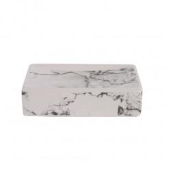 Marmo Porte-savon en céramique aspect marbre, Gris (MAR39)