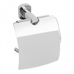 Cube Way Porte-papier toilette mural en laiton avec couvercle, Chrome (SPI25)