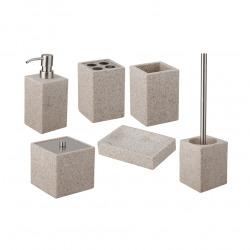 Supera Brosse de toilette sur pied en polyrésine, Sable (SUP37)