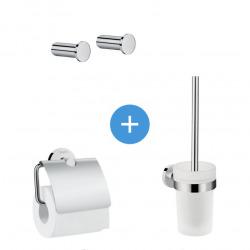 Logis Universal Pack Brosse WC + Lot de 2 Patères salle de bains + Porte-papier toilette, Chrome (41722000-QuadrioLogis)